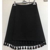 Claudie Pierlot asymmetrical black skirt with pomp Angle2