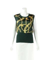Valentino Green Wool Blend Chain Print Sleeveless