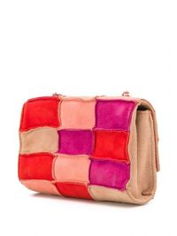 Chanel Red Patchwork Mini Crossbody Bag Angle2