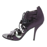 Sergio Rossi Purple Tassel High Heel Sandals.
