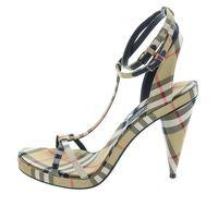 Burberry London Beige Nova Check High Heel Sandals