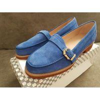 Blue suede furla loafers