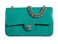 Chanel Shiny Emerald Green Alligator Medium Double