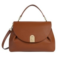 Furla leather flap closure handbag with strap