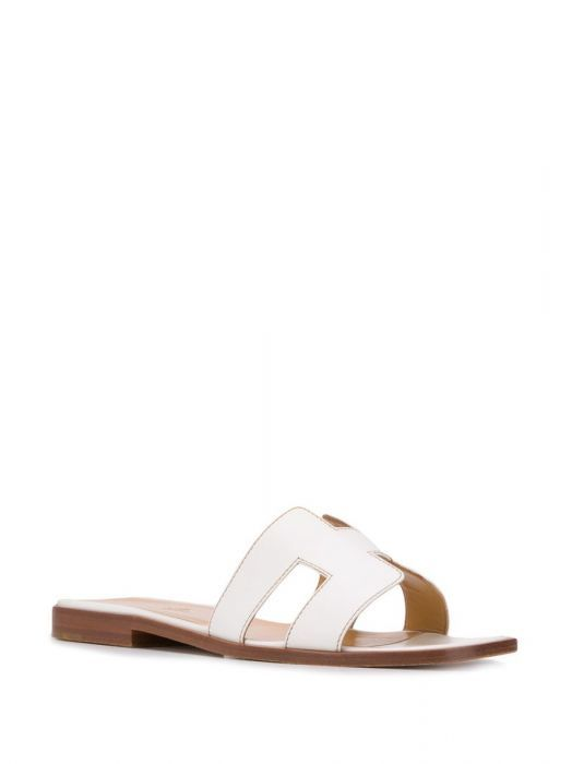Hermes white leather oran sandals