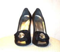 Black Satin Jeweled Peep Toe Heels Angle4